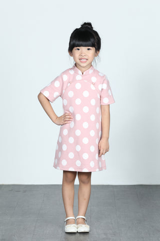 BAMBI Polka Dot Cotton Cheongsam (Pink/ White)