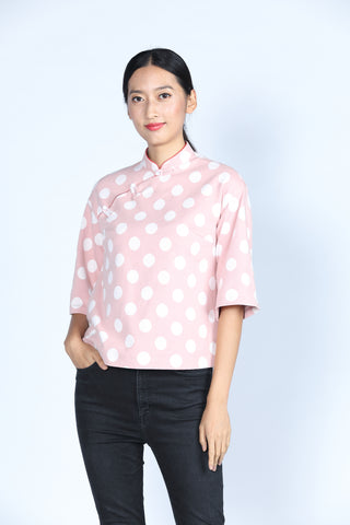 ESSIE Polka Dot Cotton Top (Pink/ White)