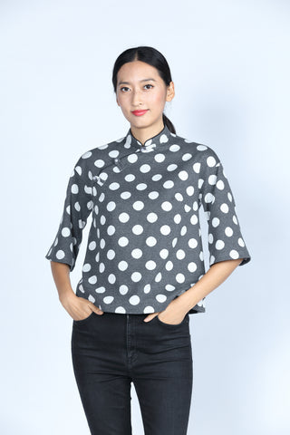 ESSIE Polka Dot Cotton Top (Grey/ White)