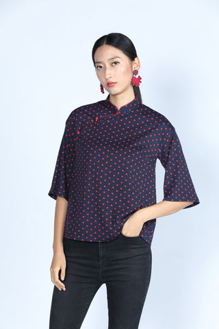 ESSIE Polka Dot Top (Navy/ Red)