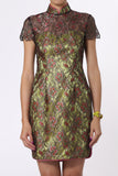 Yellow Floral Qipao With Top Layered Lace