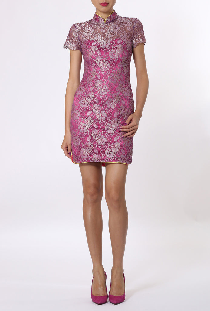 Purple Floral Qipao With Top Layered Lace