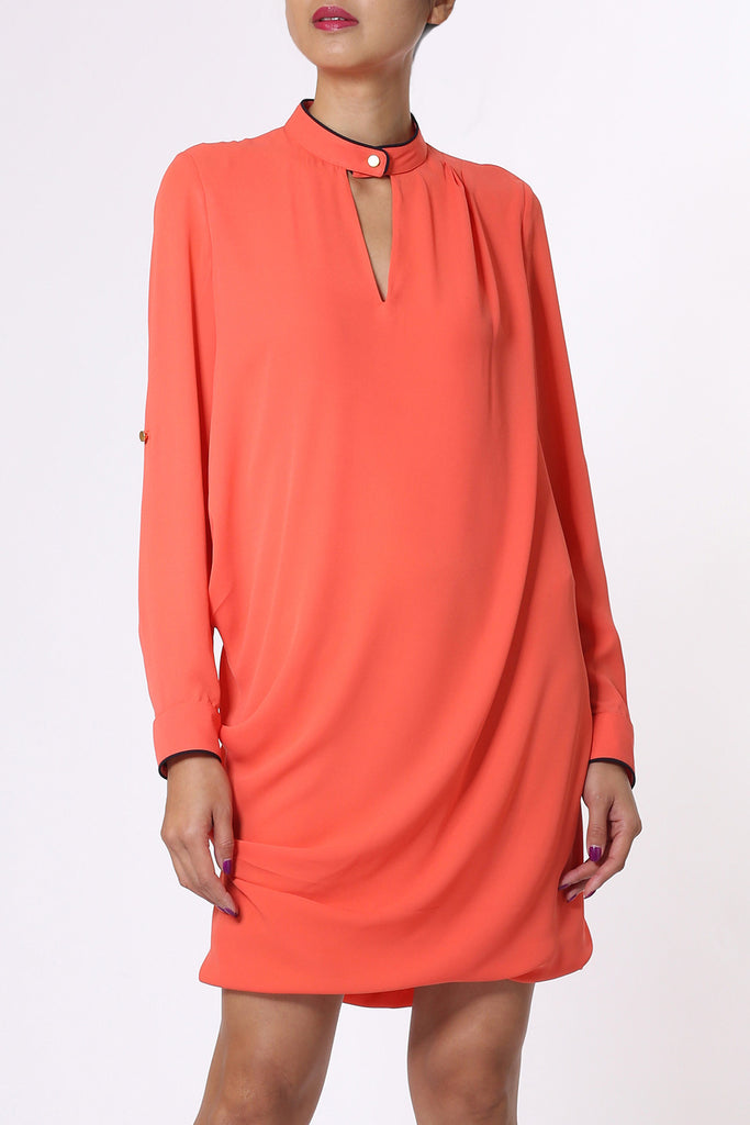 Orange Mao Collar Shirt Dress