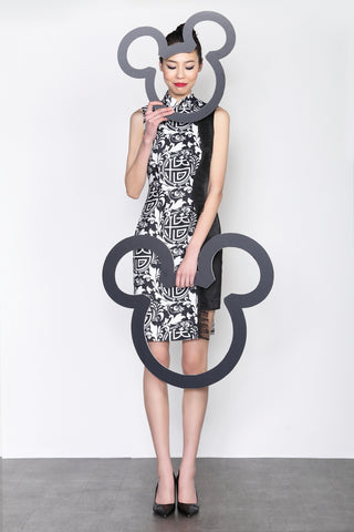 MICKEY CHINESE SEAL PATTERN PRINT CONTRAST QIPAO WITH RUFFLE TRIM (Black/White)