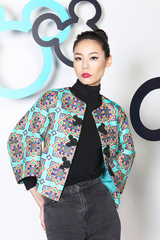 AQUA ORIENTAL MICKEY PATTERN PRINT JACKET WITH STRUCTURAL SLEEVES