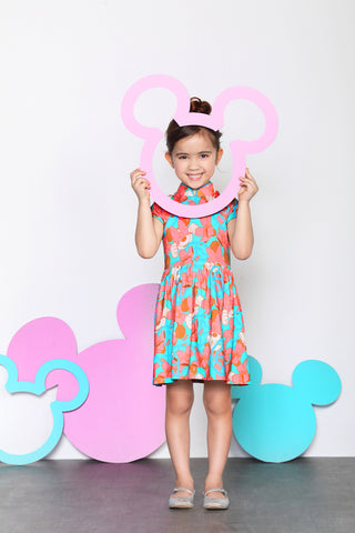 DISNEY GIRLS- MINNIE PATTERN PRINT COTTON GATHERED DRESS