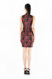 Magenta and Black Floral Brocade Sleeveless Qipao