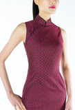 Red and Navy Floral Brocade Sleeveless Qipao