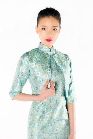 Aqua Floral Brocade Quarter Sleeves Cropped Jacket