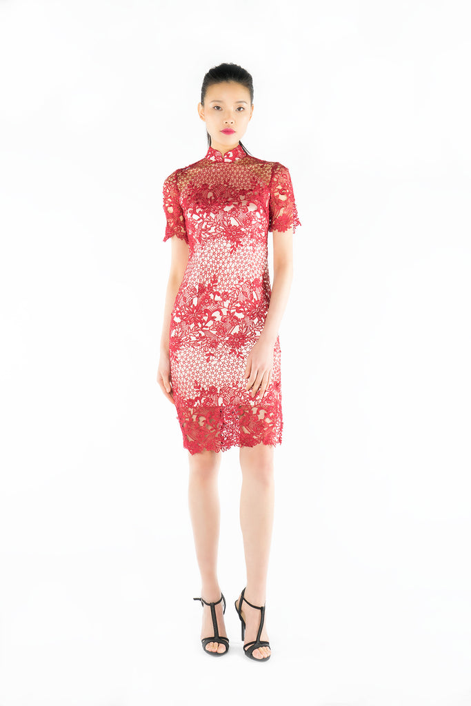 Red Floral Lace Quarter Sleeves Qipao