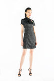 Black Front Piping Jacquard Dress with Chinese Knots