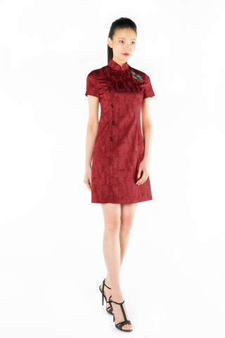 Red Front Piping Jacquard Dress with Chinese Knots