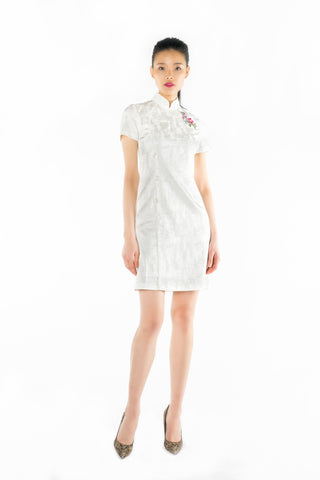 White Front Piping Jacquard Dress with Chinese Knots