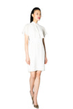 White Drapery Cape Dress