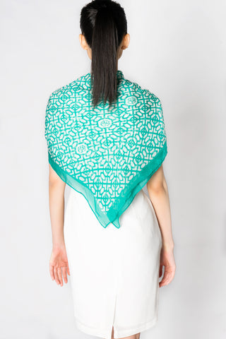 Turquoise Ming Chop Pattern Print Silk Scarf