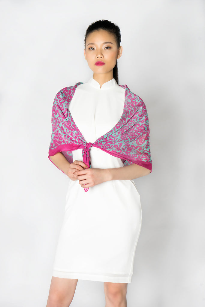 Pink and Blue Signature Print Silk Scarf - Yi-ming