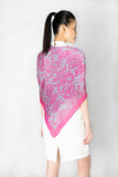 Pink and Blue Signature Print Silk Scarf