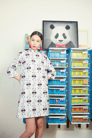 LEON LOLLIPOP PANDA PRINT QUARTER SLEEVES A-LINE DRESS