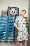 Leonlollipop Panda Print Quarter Sleeves A-Line Dress