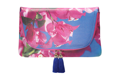 Yi-ming Botanic Clutch with Pink Bougainvillea & Blue Sky Print and Blue Tassels