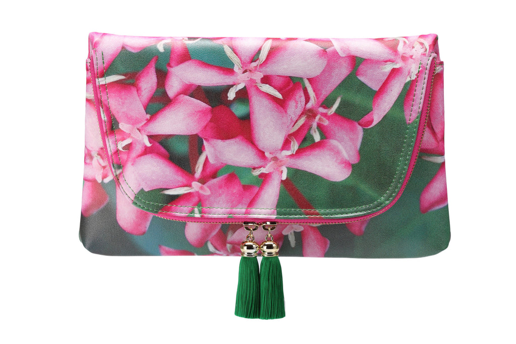 Yi-ming Botanic Clutch with Pink Ixora & Green Leaves Print Pattern and Green Tassels