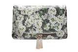 Yi-ming Botanic Clutch With White Lobularia & Green Leaves Print Pattern with Beige Tassels - Yi-ming