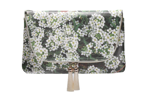 Yi-ming Botanic Clutch With White Lobularia & Green Leaves Print Pattern with Beige Tassels