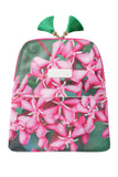 Yi-ming Botanic Clutch with Pink Ixora & Green Leaves Print Pattern and Green Tassels - Yi-ming