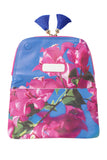 Yi-ming Botanic Clutch with Pink Bougainvillea & Blue Sky Print and Blue Tassels - Yi-ming