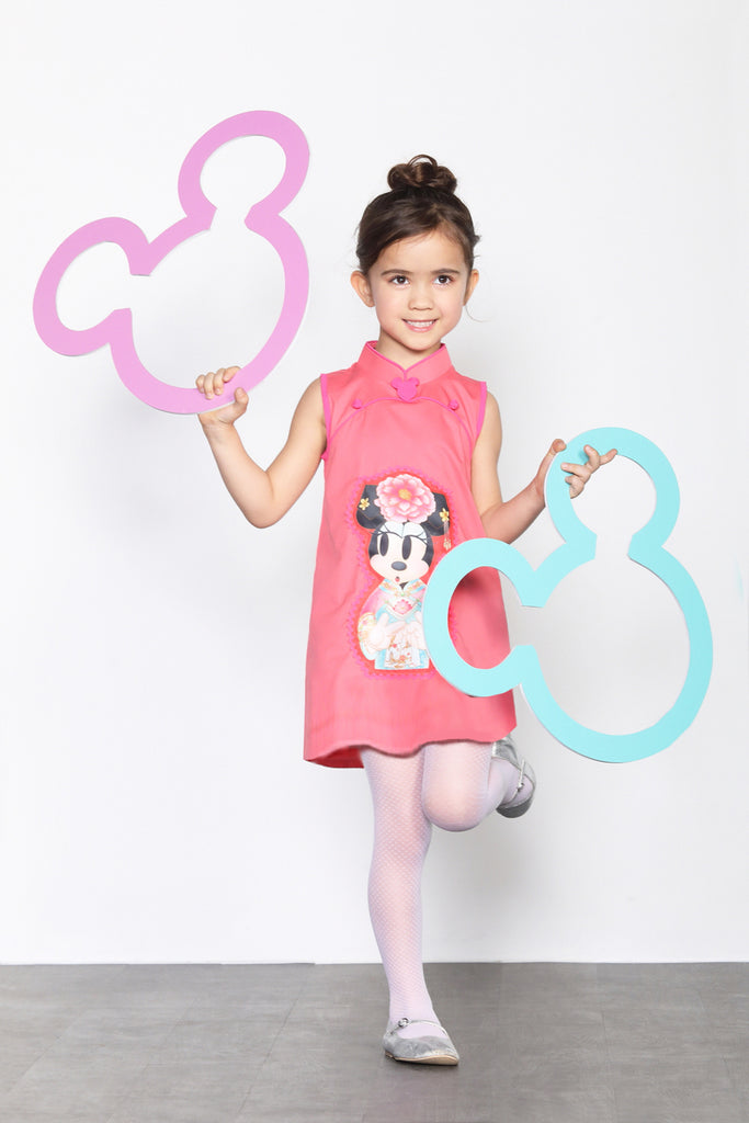 GIRLS- MINNIE IN QIPAO PRINTED COTTON SLEEVELESS QIPAO