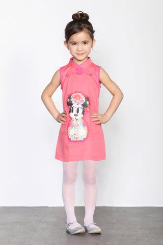 DISNEY GIRLS- MINNIE IN QIPAO PRINTED COTTON SLEEVELESS QIPAO