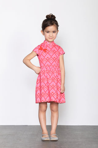 DISNEY GIRLS- RHOMBIC MICKEY PATTERN PRINT COTTON GATHERED DRESS
