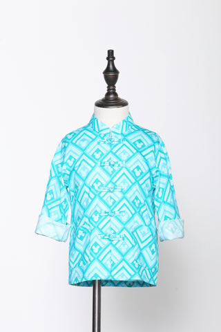 BOYS- RHOMBIC MICKEY PATTERN PRINT COTTON ORIENTAL JACKET