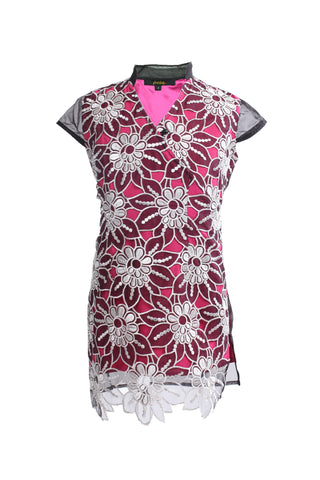 Kids Pink See-Through Qipao With All Over Floral Lace Front Layer