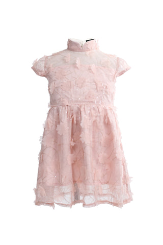Kids Soft Pink Floral Chiffon Lace Dress With Qipao Collar