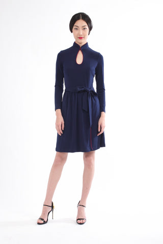 Navy Long Sleeves Gathered Skirt Dress With Contrast Belt
