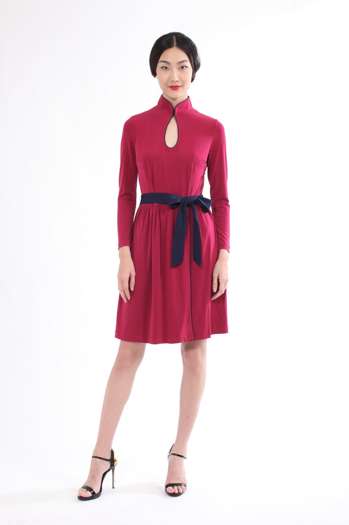 Raspberry Long Sleeves Gathered Skirt Dress With Contrasting Belt