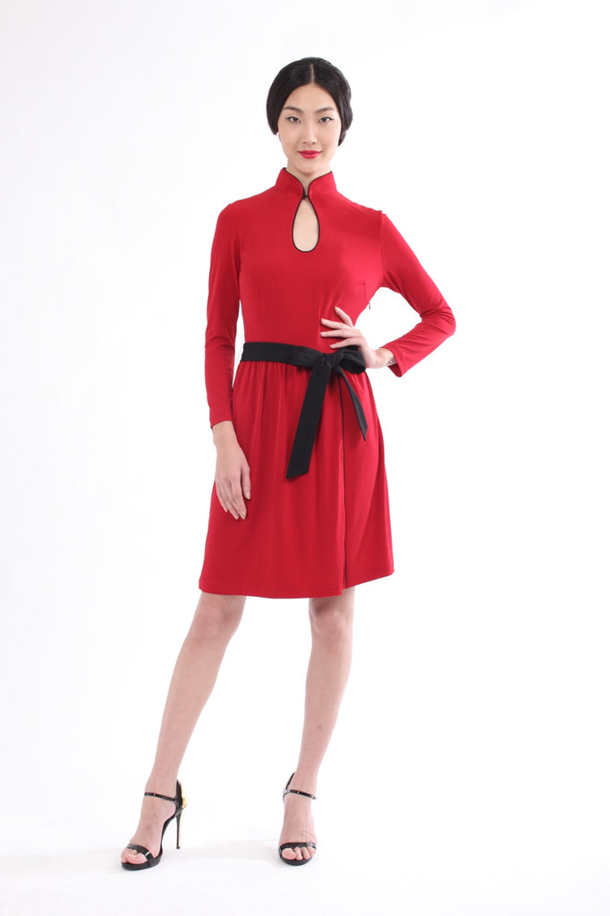 Burgundy Long Sleeves Gathered Skirt Dress With Contrast Belt