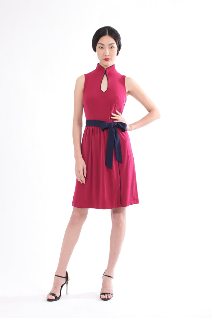 Raspberry Sleeveless Gathered Skirt Dress With Contrasting Belt