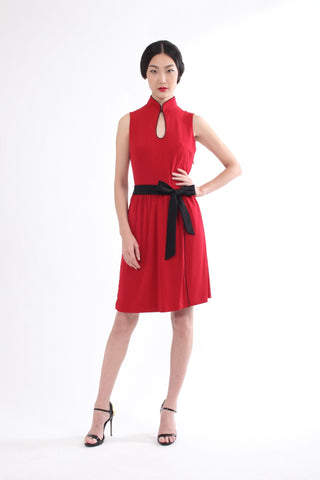 Burgundy Sleeveless Gathered Skirt Dress With Contrast Belt