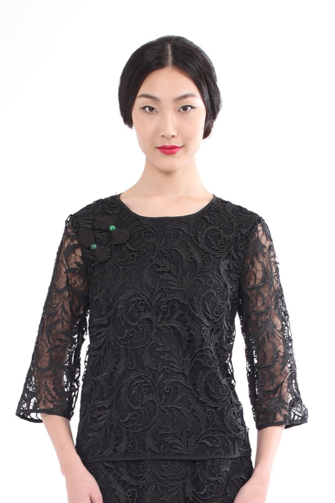Black Lace Top With Trumpet Sheer Sleeves