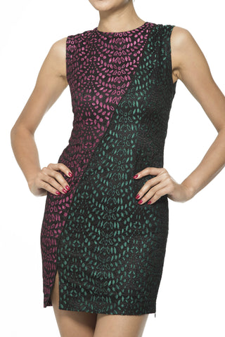 Pink and Green Contrast Panel Dress