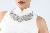 Handmade Silver Oriental  Buttons Necklace With Square Shape Crystal