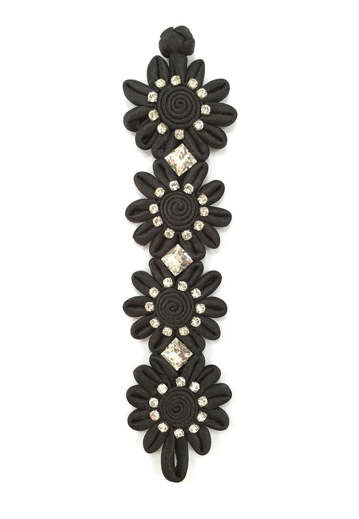 Handmade Black Flower Diamante Bracelet with Chinese Knot - Yi-ming