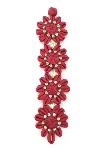 Handmade Red Flower Diamante Bracelet with Chinese Knot