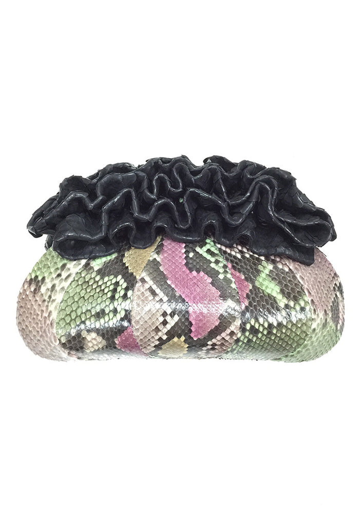Purple and Green Snake Skin Ruffle Opening Evening Clutch - Yi-ming
