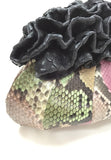 Purple and Green Snake Skin Ruffle Opening Evening Clutch