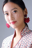 Chryssa Floral Button Earrings (Red/ Navy/ Gold) - Yi-ming
