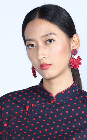 Chryssa Floral Button Earrings (Red/ Navy/ Gold)