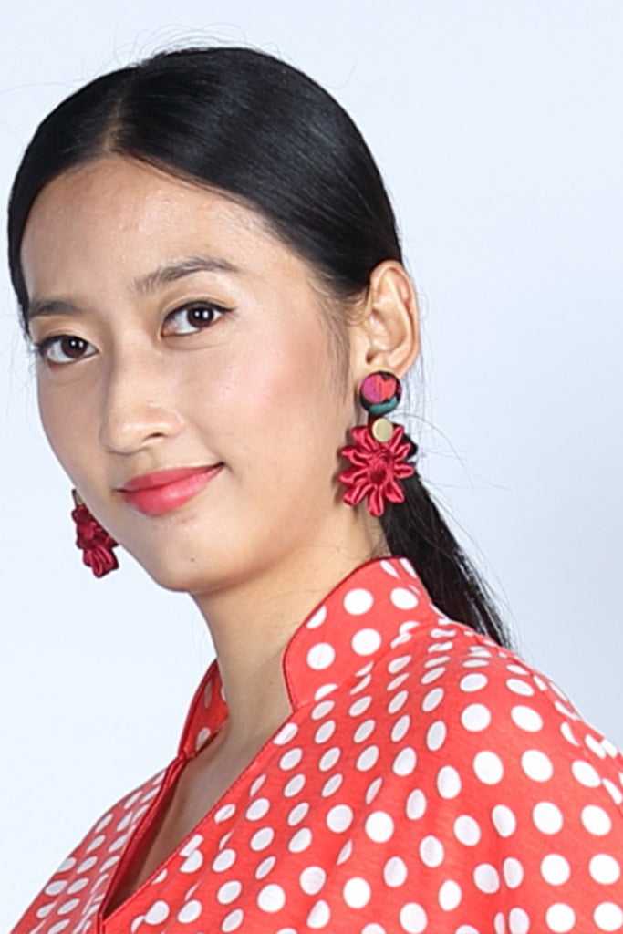 Chryssa Floral Button Earrings (Red/ Magneta/ Gold) - Yi-ming
